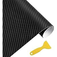 MZMing 3D Carbon Fibre Vinyl Wrap Roll 152x30cm Matte Black PVC Car Wrap Sheet Roll Waterproof No-Bubble Self-Adhesive…