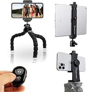 KobraTech 3 in 1 Bundle - TriFlex Mini Tripod + UniMount 360 Phone Mount + TabMount 360 iPad Tripod Mount