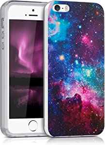 kwmobile Case Compatible with Apple iPhone SE (1.Gen 2016) / 5 / 5S - TPU Crystal Clear Back Protective Cover IMD Design - Outer Space Multicolor/Dark Pink/Black