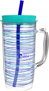 Bubba Envy Travel Thermal Mug, 48 Ounces - Double Wall Insulated with Straw - Keep All Your Favorite Cold Drinks at Your Side - Sweat Resistant, Ideal For Travel - Vineyard with Stripes Graphic