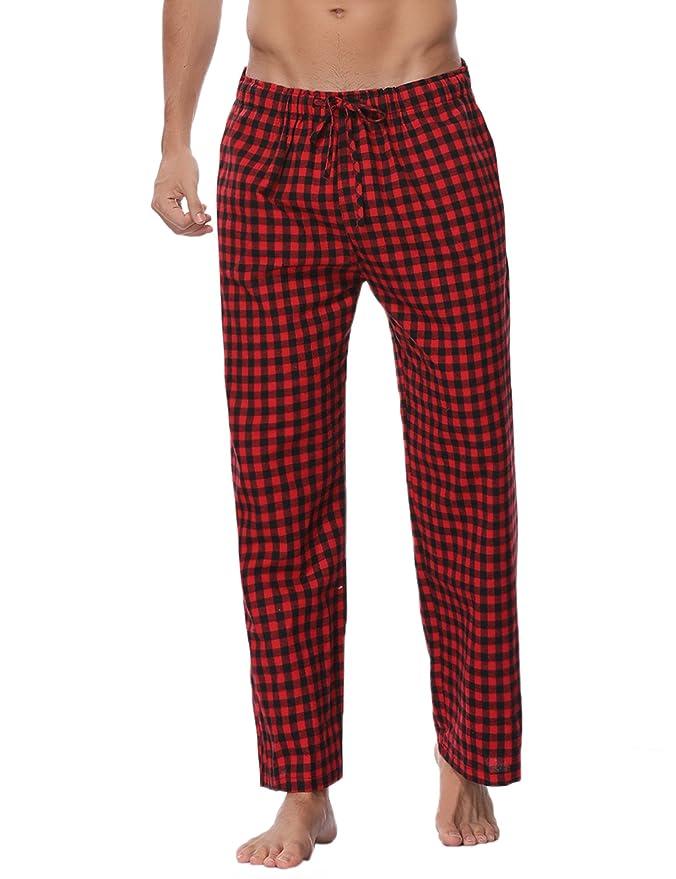 b2ca09b9f Aibou Unisexe Bas de Pyjama Femme 100% Coton Vêtements de Nuit à Carreaux  Homme Pantalon Lounge Pyjama