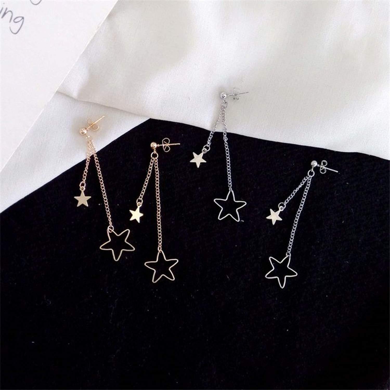 Woman Stud Earring Lovely Long Earrings Young Girl Stud Earrings Simple Golden Star Earrings