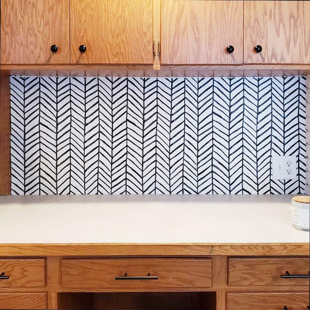 color negro y blanco pared lateral Papel pintado autoadhesivo de vinilo impermeable con l/íneas de espiga escaleras para cocina ba/ño ConCus-T puerta delantera