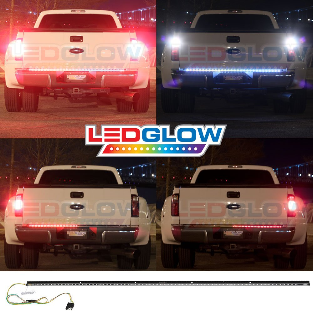 Ledglow 60 Inch Truck Tailgate Led Light Bar Turn 1990 C1500 Reverse Wiring Diagram Signal Brake Lights White Automotive