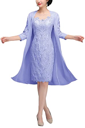 Newdeve Lace Mother Of The Bride Dresses With Jacket Tea Length