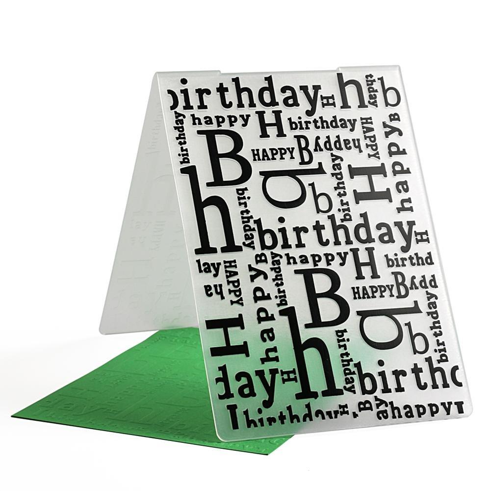 Everpert Happy Birthday modello goffratura cartelle di plastica per fai da te di fare foto album scrapbooking decorazione forniture