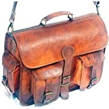 HLC Vintage Genuine Leather Laptop Briefcase messenger satchel bag