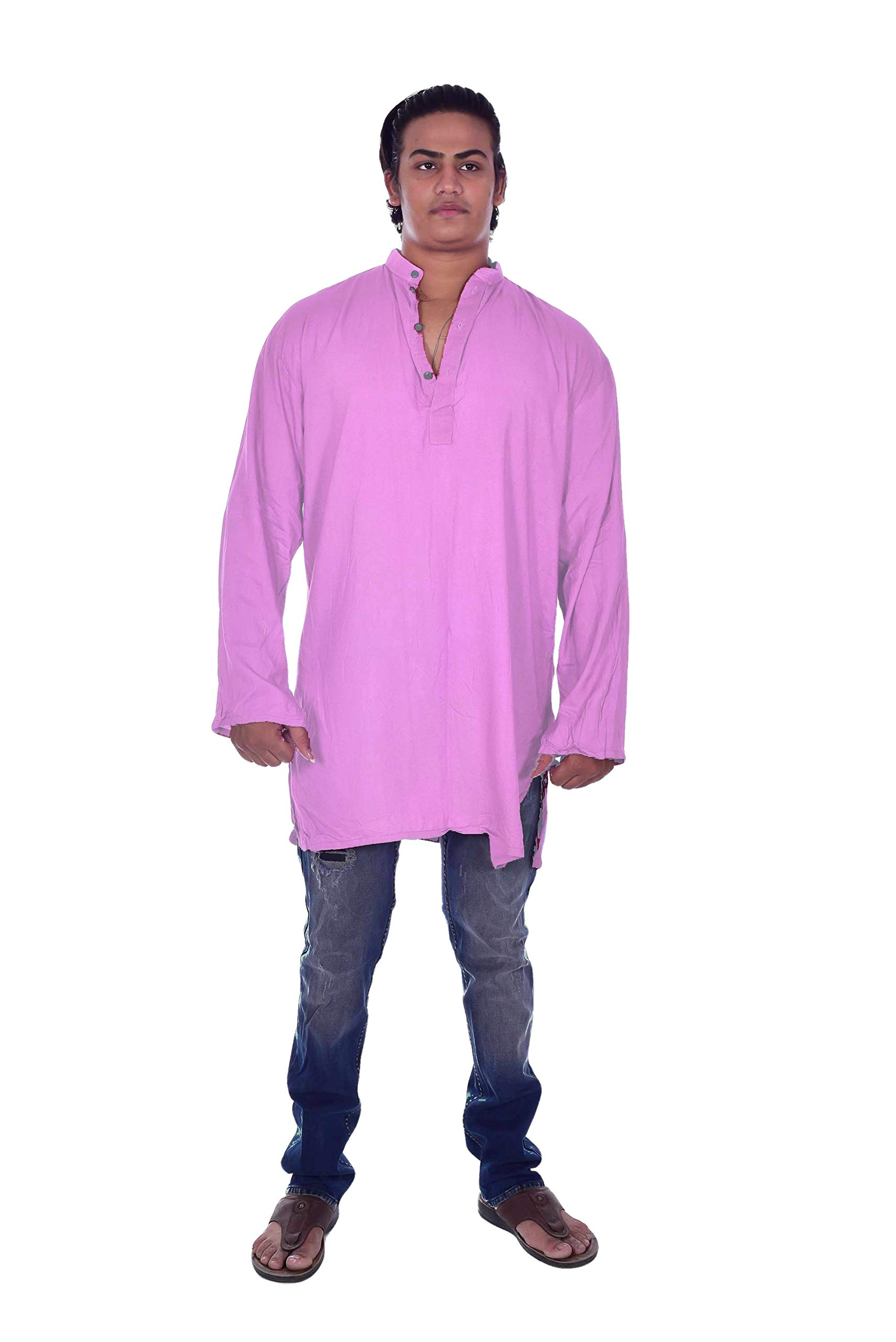 Lakkar Havali Indian 100/% Cotton Mens Shirt Tunic Loose Fit Solid Kurta Plus Size Sky Blue Color Length 36