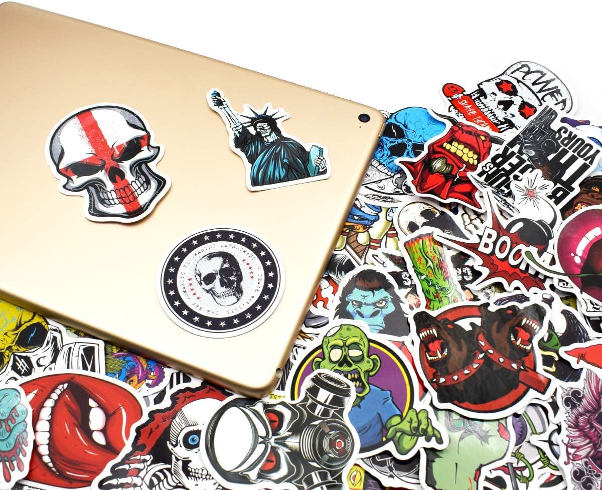 Skull//Punk Valise Autocollants pour Valise Voyage Skateboard Guitare Chileeany Lot de 52 R/étro Vintage Stickers