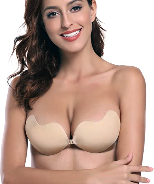 Invisible Push up Sticky Bra for Strapless//Backless Dresses Self Adhesive Bra New Beige,Cup D Blisstime Backless Strapless Bra