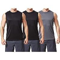 TEXFIT Men's 3-Pack Quick Dry Sleeveless Shirts, Workout Muscle Tank Tops (3pcs Set)