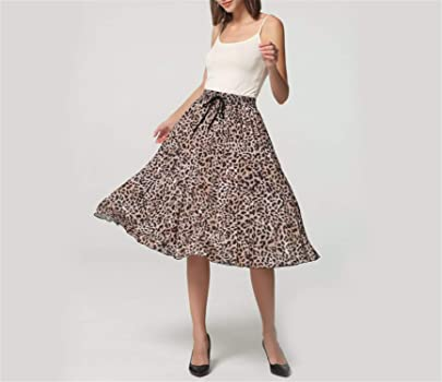 Availcx-Sexy Long Skirt Falda Plisada con Estampado de Leopardo ...