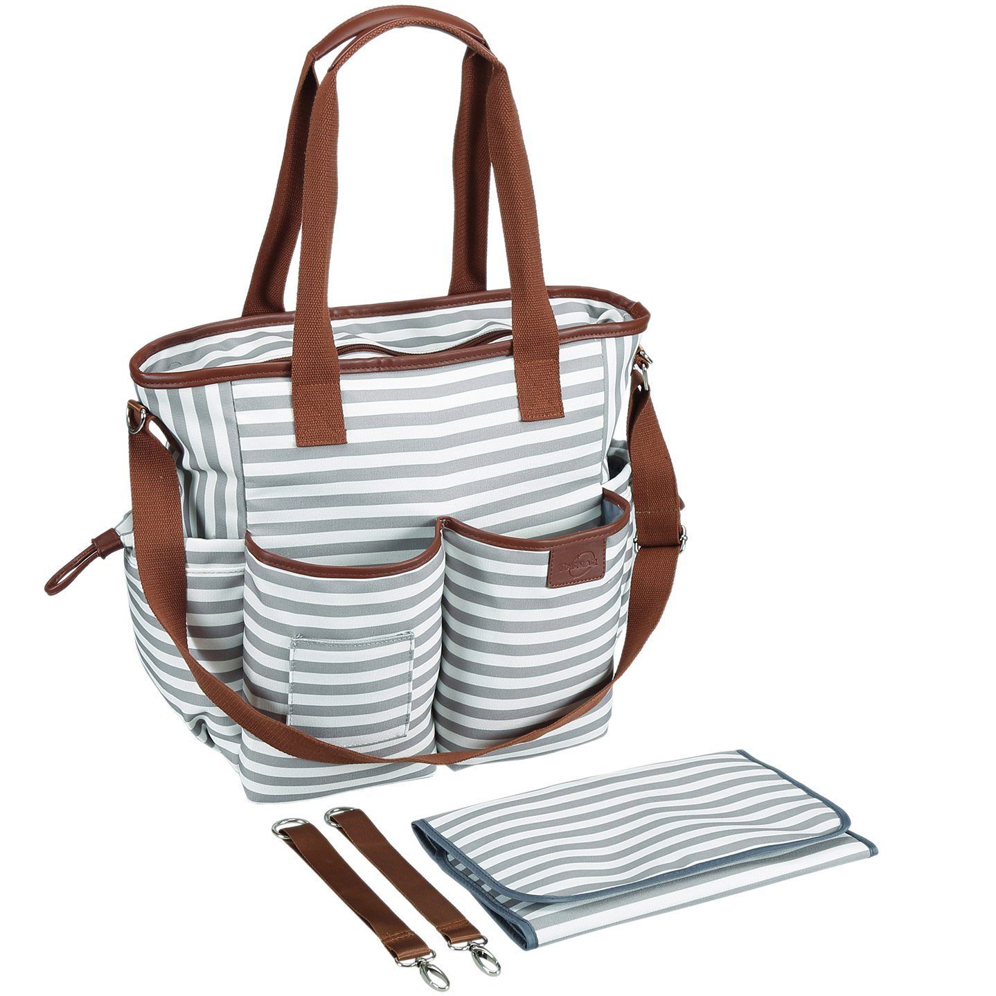 Tosnail Weekender Tote Diaper Bag with Portable Changing Mat - Gray & White Stripes