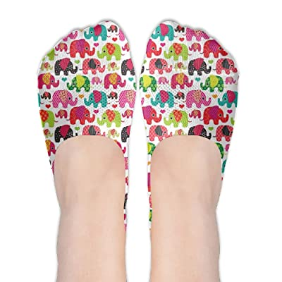 Low Cut Socks Colorful Lovely Elephant Seamless Pattern Printed Comfortable No-show Liner Invisible Polyester Cotton Sock For Girls & Womens , One Pair