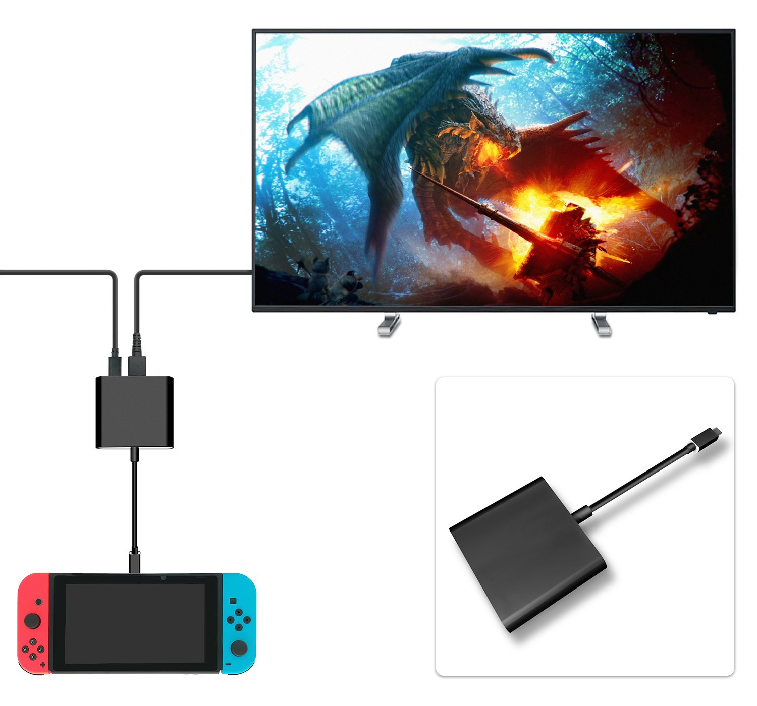 FastSnail HDMI Type C Hub Adapter for Nintendo Switch, HDMI Converter Dock Cable for Switch (Black)