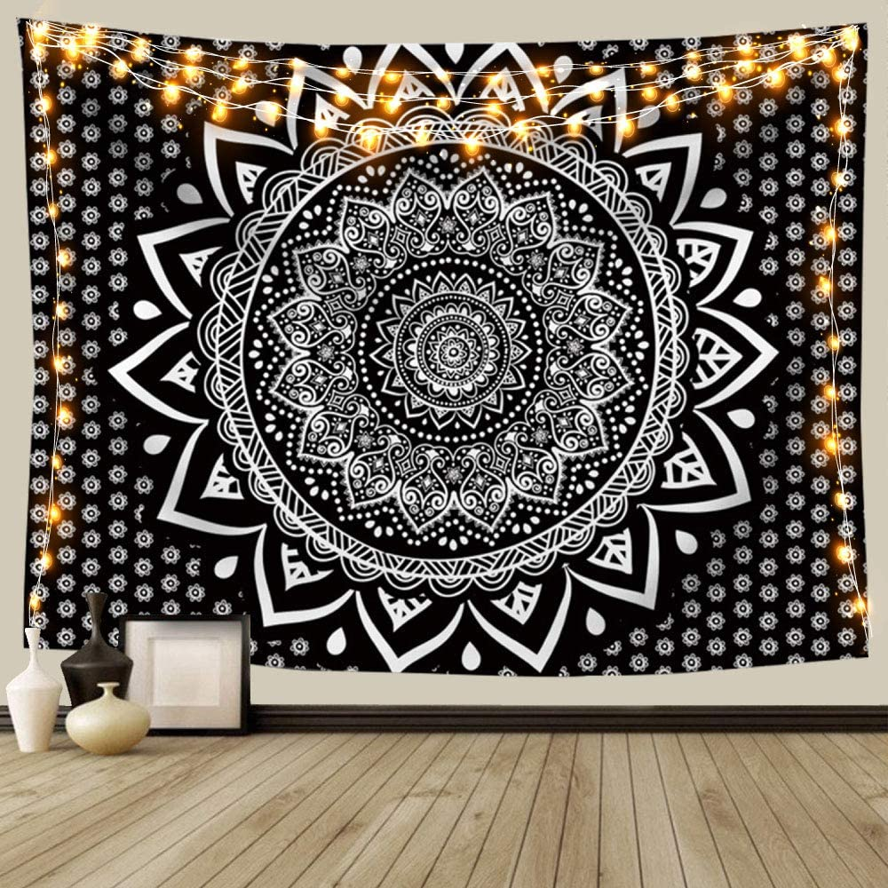 Amazon Com Black And White Mandala Ombre Tapestry Wall Hanging Bohemian Tapestries For Home Dorm Living Room Bedroom Ceiling Decor Large Blanket For Men Women With Non Mark Hooks Clips 70x90 Inches Everything