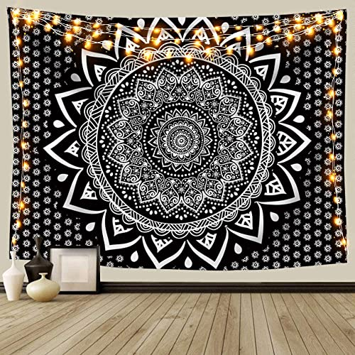 ANROYE Black and White Mandala Ombre Tapestry Wall Hanging, Bohemian Tapestries for Home Dorm Living Room Bedroom Ceiling Decor, Large Blanket for Men Women with Non-Mark Hooks Clips 70×90 Inches