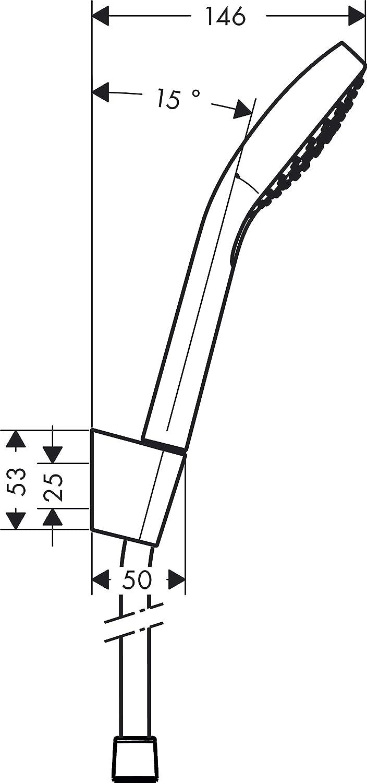 Hansgrohe 26411400 Croma Select S 110 Vario ducha de mano con soporte y flexo blanco//cromo 3 tipos de chorro