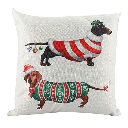 Socialme-EU Funda de Almohada de Tiro Salchicha de Perro de Navidad Cuadrada para Cojín