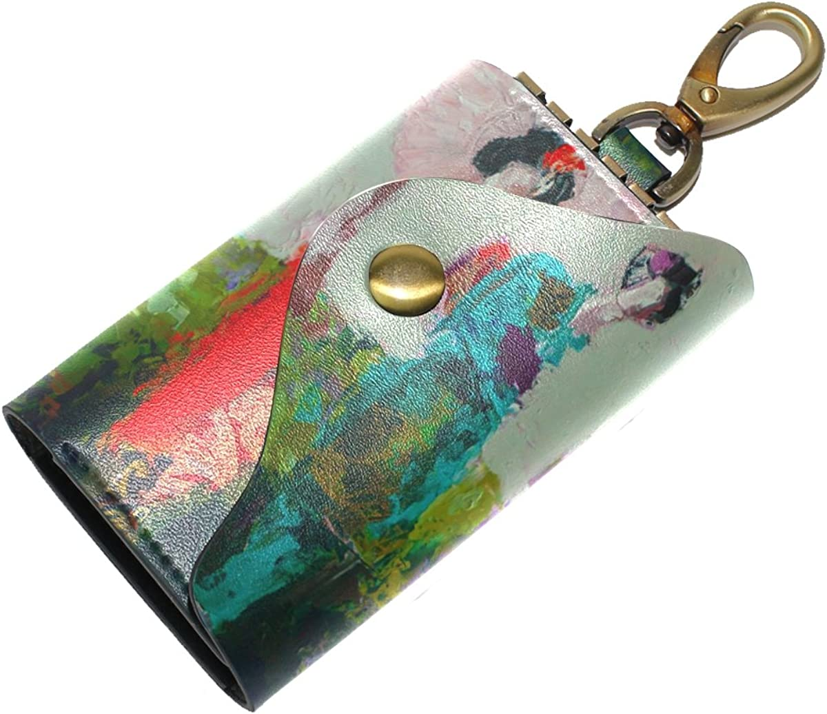 DEYYA Japanese Geisha Girl Leather Key Case Wallets Unisex Keychain Key Holder with 6 Hooks Snap Closure