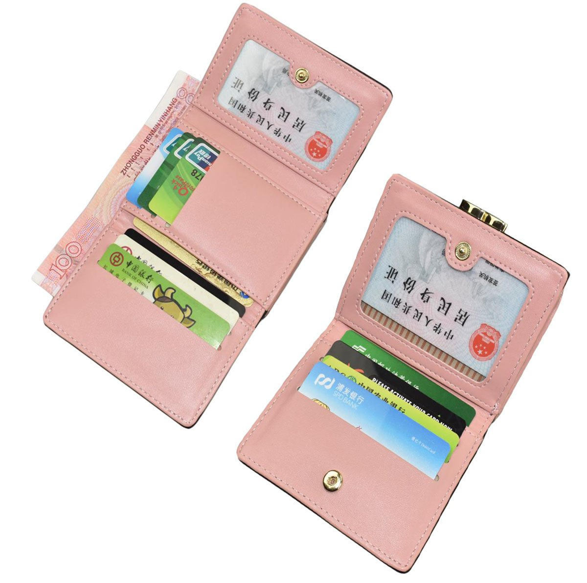 Jadedragon Women Cute Small Wallet Coin Purse Bifold Wallet Card Holder for Teen Girls (Rose) by Jadedragon (Image #3)