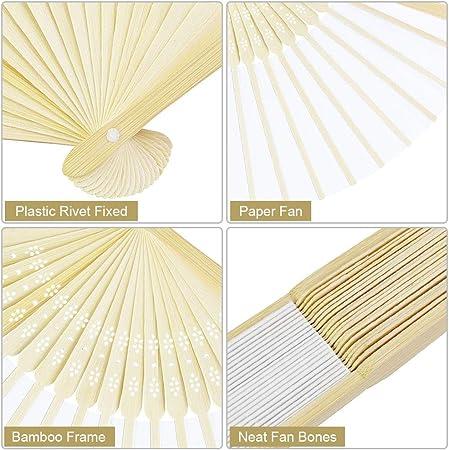 BUZIFU 12pcs Abanicos para Bodas Abanico Blanco Abanico Plegable de Papel,Hechos de Bambú Natural,Ideal para Arte de DIY Boda,Puedes Escribir o Dibujar lo que Quieras en el Papel en Blanco