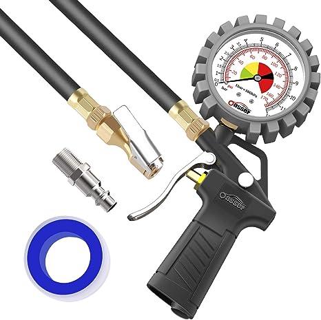 Oasser Manom/ètre num/érique Haute pr/écision Pistolet pour Pression pneus avec /écran LCD de Voiture et Moto