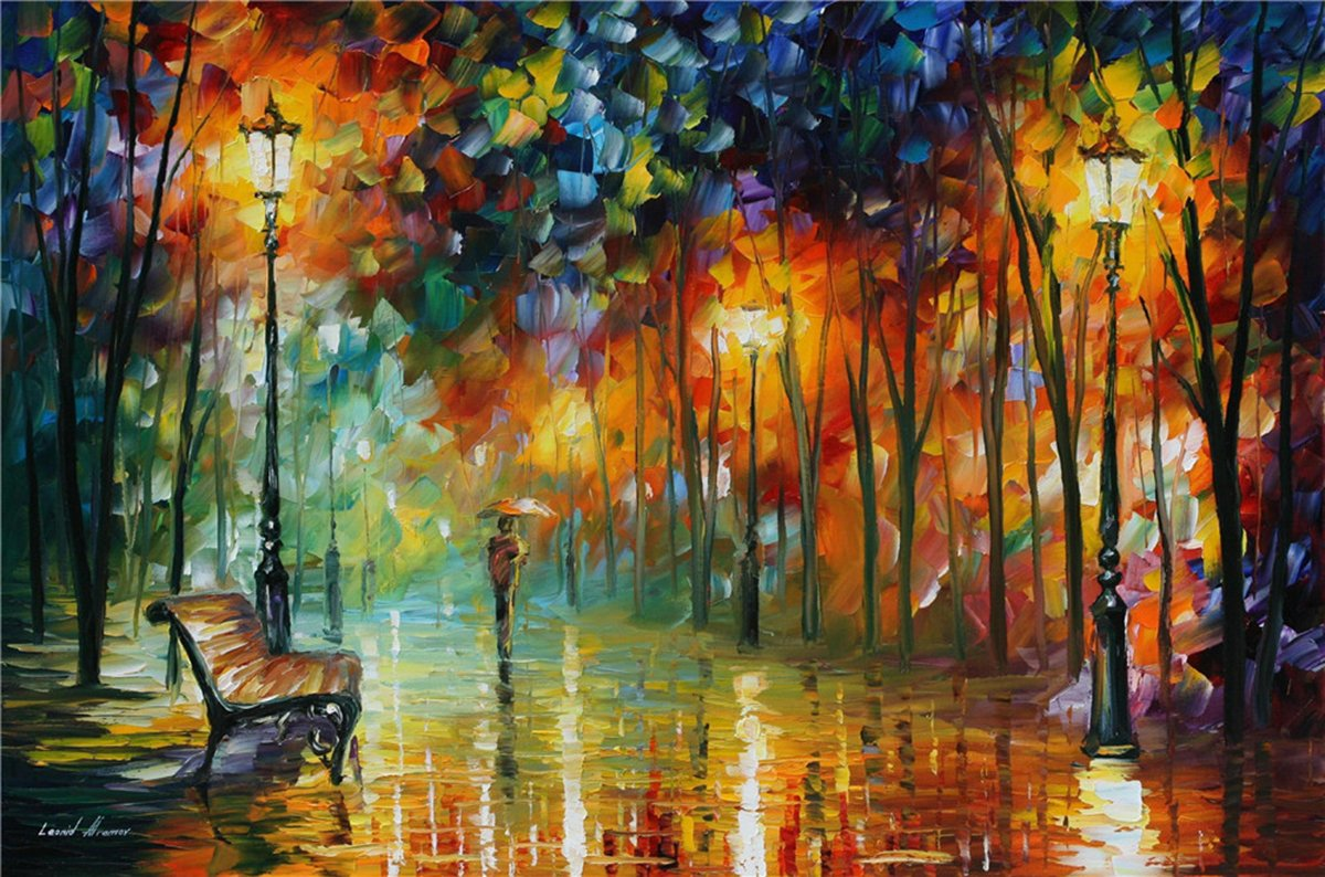 100% Hand Painted Oil Paintings Decor Abstract Modern Painting Bench in the Rain Home Wall Decoration (36X54 Inch, Wall Arts 2)