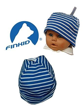 Baby und Kinder Wendemütze Beanie Bio Baumwolle blau weiß gestreift