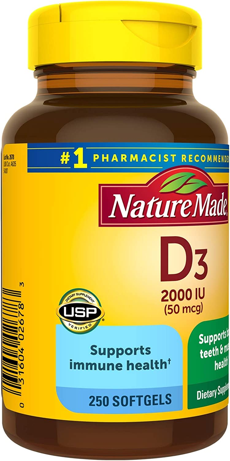 Nature Made Vitamin D3 2000 IU (50 mcg) Softgels, 250 Count Everyday Value Size for Bone Health† (Packaging May Vary): Health & Personal Care