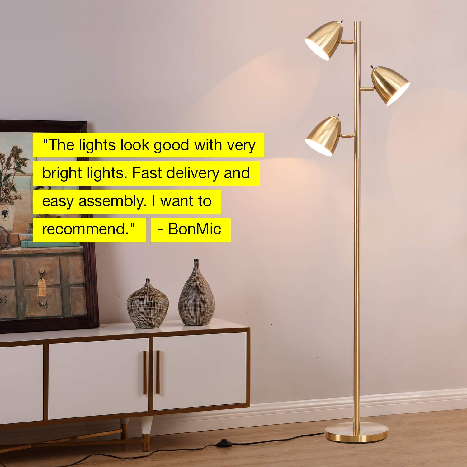 Brightech Jacob - LED Reading and Floor Lamp for Living Rooms & Bedrooms - Classy, Mid Century Modern Adjustable 3 Light Tree - Standing Tall Pole Lamp with 3 LED Bulbs - Antique Brass/Gold by Brightech (Image #9)