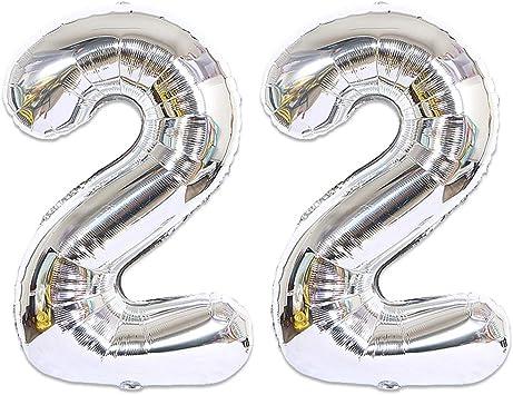 Huture 2 Globos Número 22 Figuras Globo Inflable de Helio Globos Grandes de Aluminio Mylar Globos de Plata Gigantes Número Globos 40 Pulgadas para Fiesta de Cumpleaños decoración graduación XXL 100cm