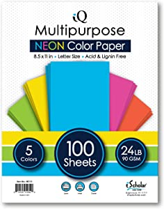 iQ Multipurpose Neon Colored Copy Paper, Laser and Inkjet Compatible, 8.5 x 11 Inches, 24 Lb., 90 GSM, 100 Sheets (80115)