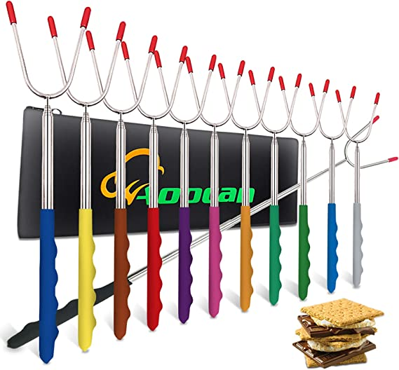 YUNAWU Stainless Steel BBQ Marshmallow Roasting Sticks Extending Roaster Telescoping