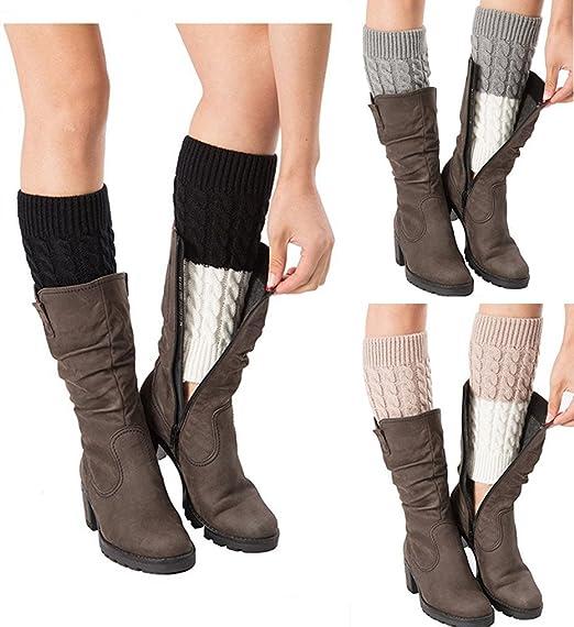 70b01ac27cf Womens Patchwork Splicing Leg Warmers Crochet Boot Socks Topper Cuffs 3  Pack (A)