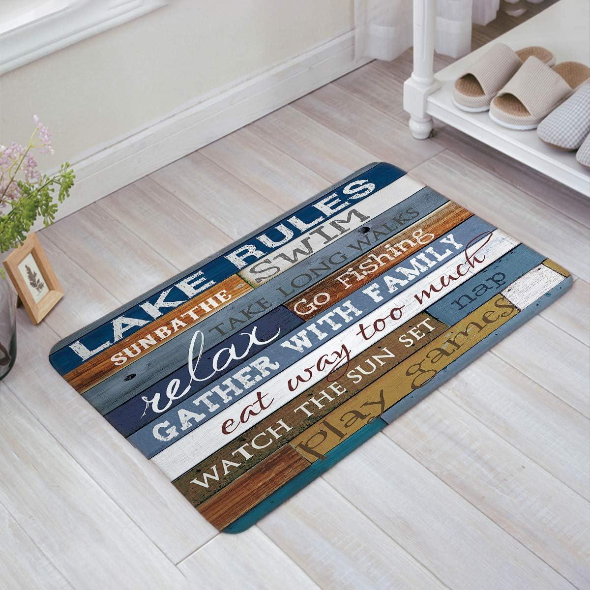 Possta Decor Blue Lake Rules Doormat Entrance Mat Floor Mat Rug Indoor Outdoor Front Door Bathroom Mats Rubber Non Slip