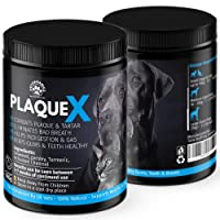 Plaque X Plaque Off & Tartar Remover For Dogs & Cats | Turmeric Formulation | Bad Breath Freshener | Prevents & Treats Gum Disease - Keeps Teeth Healthy | No Toothpaste & Toothbrush | Recommended By UK Vets | 180G 100% More Than Other Brands
