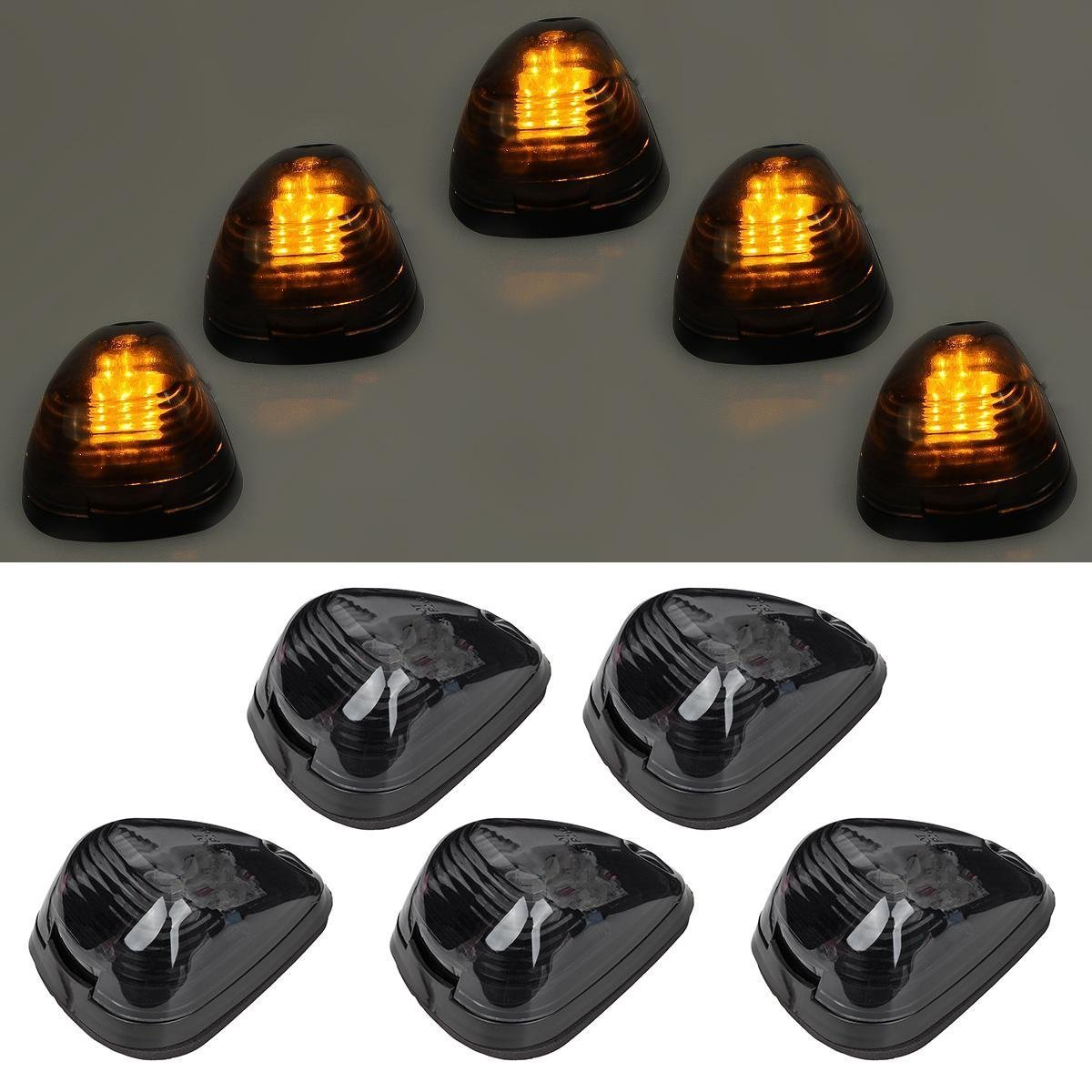 5pcs Black Smoked Lens Amber LED Cab Roof Top Marker Lamp Clearance Running Light For 1999-2016 Ford E/F (Smoked Lens & Amber LED)