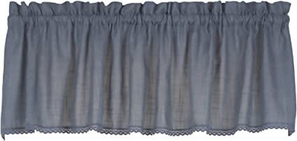 Connemara 72 Inches Wide X 14 Inches Long Linen And Polyester Valance Curtain Blue Amazon Co Uk Kitchen Home