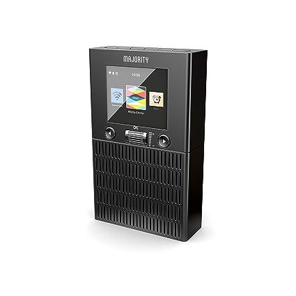 Majority Wolfson Radio Internet WLAN WiFi, Bluetooth, Reloj con Alarma Dual y configuración (Negro)
