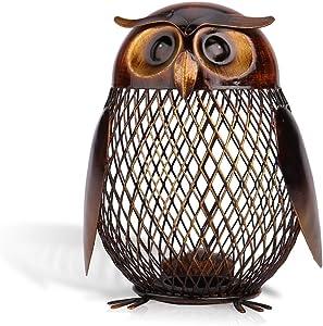 Tooarts Owl Shaped Metal Coin Bank Box Handwork Crafting Art