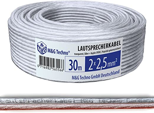M G Techno 30m Lautsprecherkabel Single Wire 2x2 5mm Spofc Silber Kupfer Rund Transparent Mit Metermarkierung