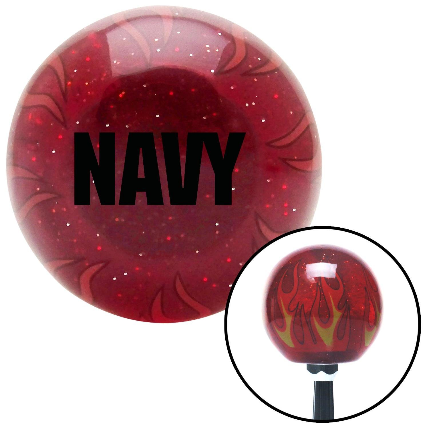 Black Navy American Shifter 241112 Red Flame Metal Flake Shift Knob with M16 x 1.5 Insert