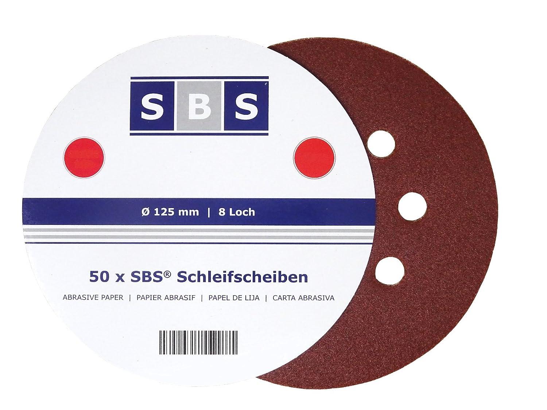 150 Stück Klett-Schleifscheiben Ø 125 mm Korn 40 für Exzenter-Schleifer 8-Loch