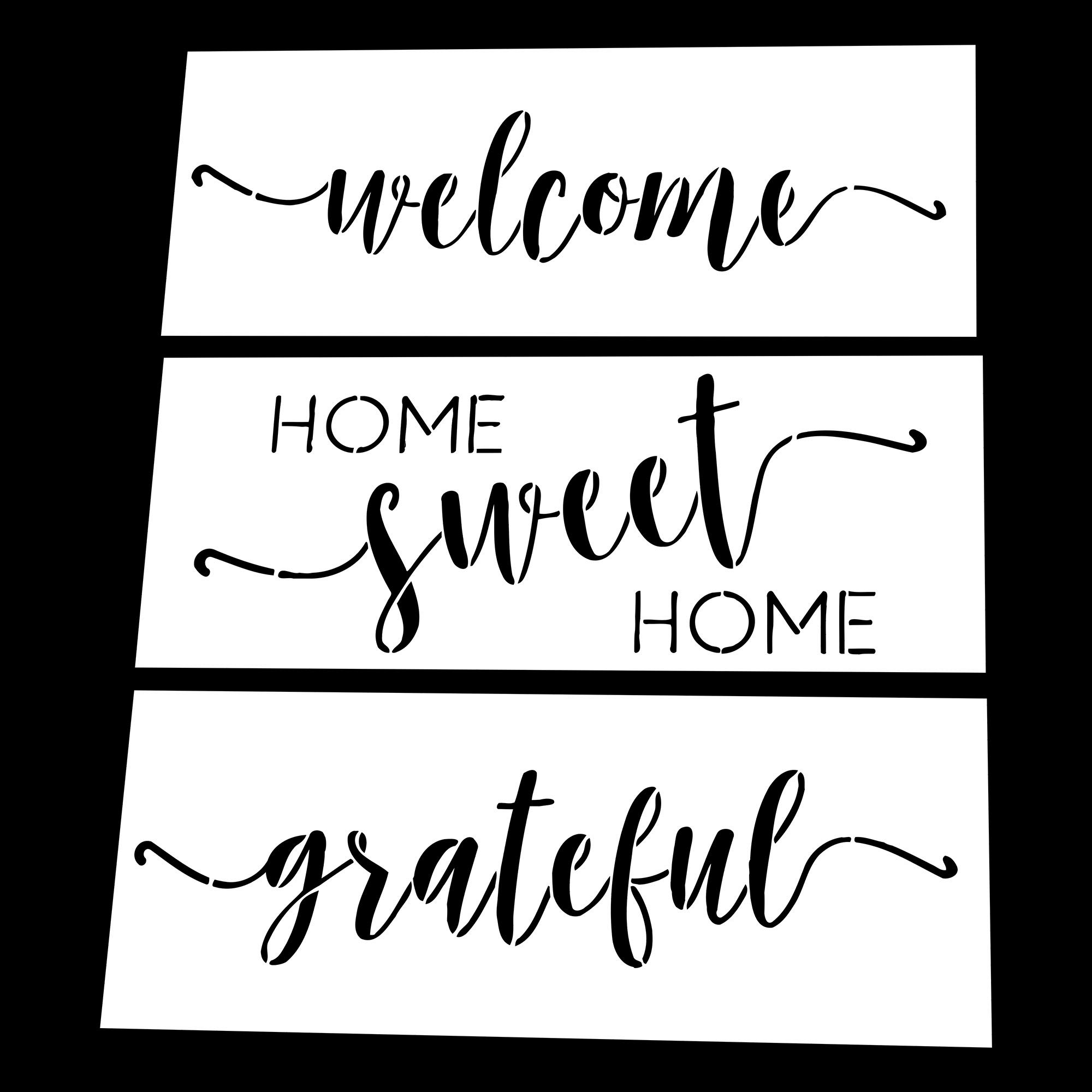 AZDIY Reusable Stencil Set - Home Sweet Home, Welcome, Grateful Stencils - Word Stencils for Painting on Wood- Laser Cut Painting Stencil - for Home Décor & DIY Projects by AZDIY