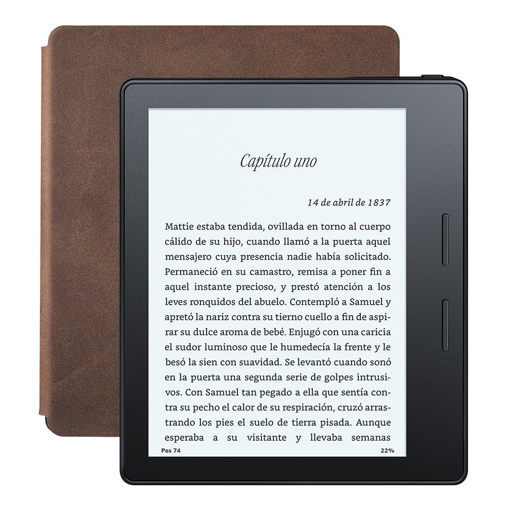 E-reader Kindle Oasis con funda de carga de cuero nogal, pantalla de 6