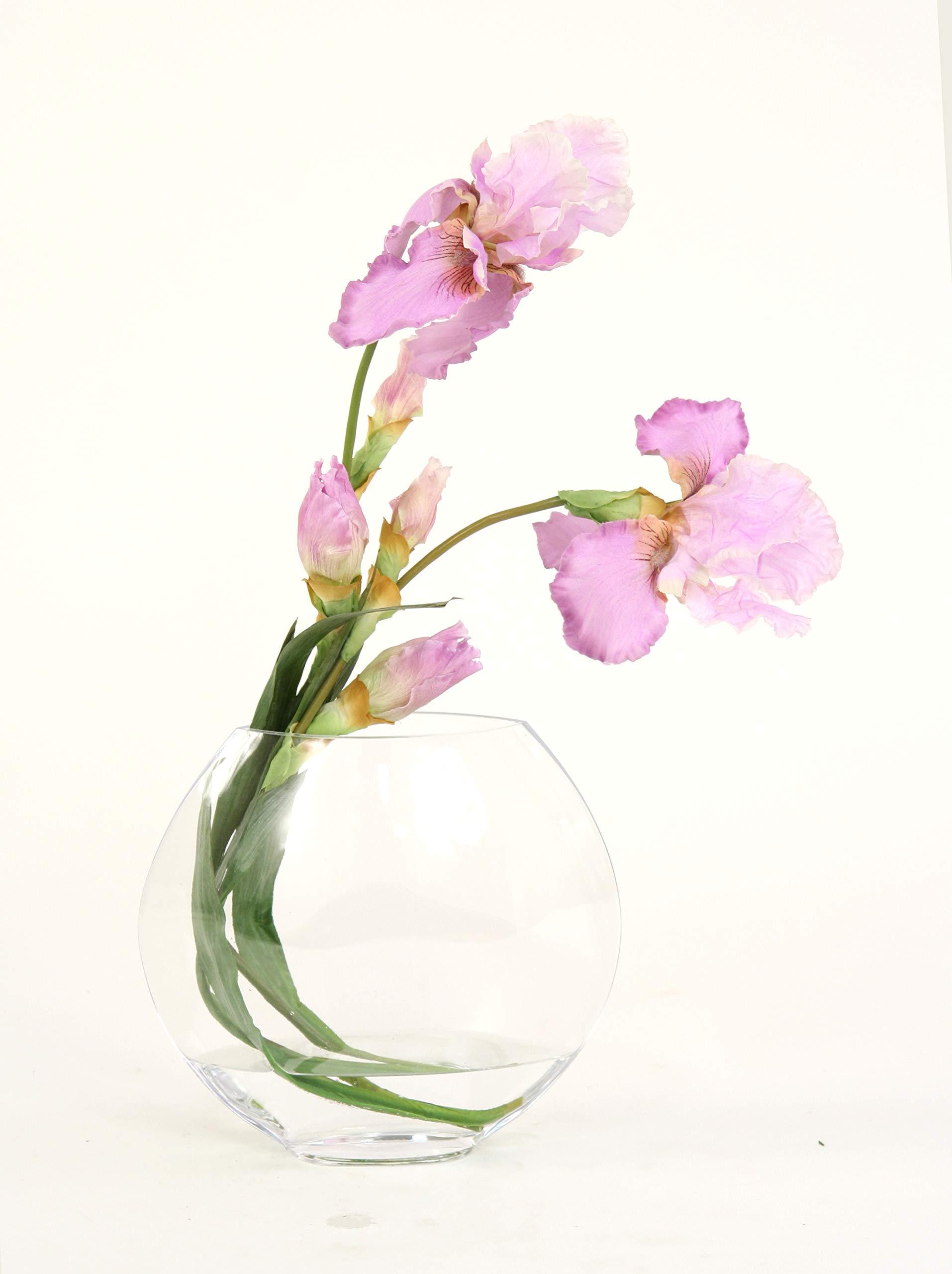 Distinctive-Designs-Waterlook-Lavender-Iris-in-Elliptical-Disc-Vase
