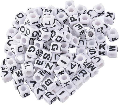 100 x alphabet lettre ronde de 7mm perles acrylique mélangé perles couleurs 1er classe post