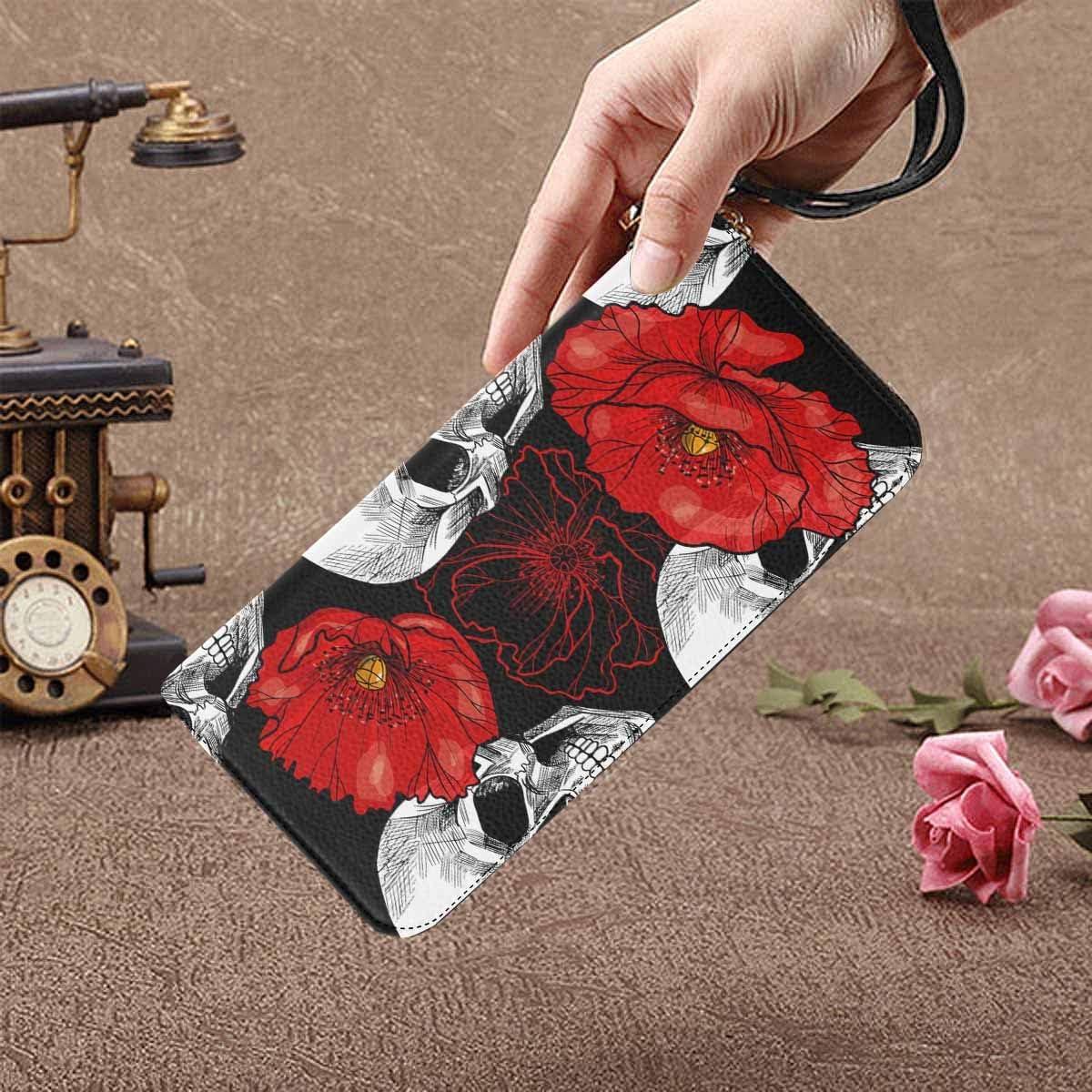 InterestPrint Womens Skull Black Clutch Purse Card Holder Organizer Ladies Purse