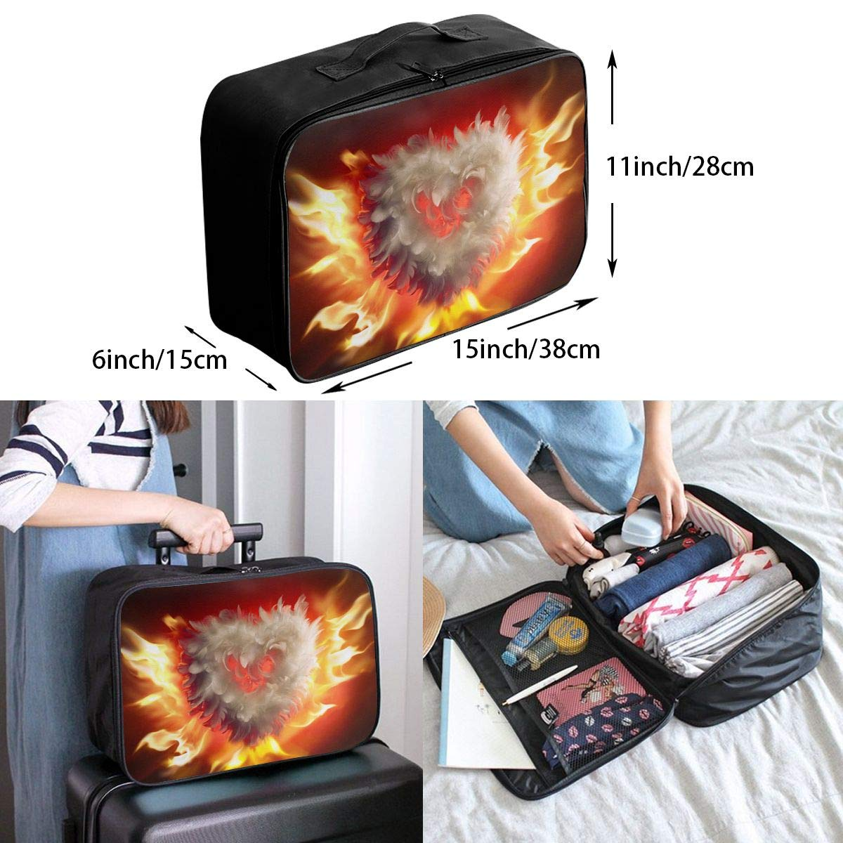 Travel Luggage Duffle Bag Lightweight Portable Handbag Feather Fire Heart Large Capacity Waterproof Foldable Storage Tote